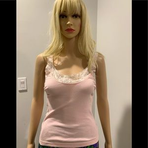 Rebecca Beeson pink knit tank with lace trim